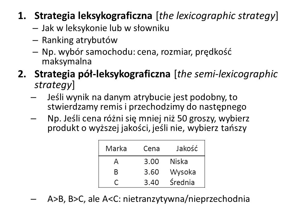 Strategia leksykograficzna [the lexicographic strategy]